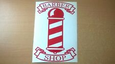 red barber pole shop sign window mirrors doors salon barbers vinyl sticker decal