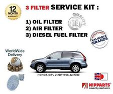 FOR HONDA CRV 2.2DT N22A2 2006-  OIL AIR FUEL 3 FILTERS SERVICE KIT  *OE QUALITY