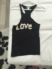 Mango Vest Top With Metal Love Hearts On The Front Size Small