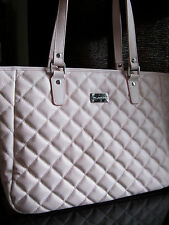 NEW ST JOHN KNIT LIGHT PINK GELATO TOTE BAG QUILTED LOGO LEATHER PURSE