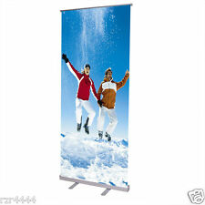 """32x79"""" Adjustable Height Retractable Roll Up Banner Stand Trade Show Conference"""