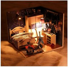 DIY Handcraft Miniature Dolls House -Clear Cover &Light Wood Dollhouse -UK Stock