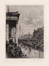 """Amazing 1800s LOCKHART Etching """"Queen's entry into Edinburgh in 1876"""" SIGNED COA"""