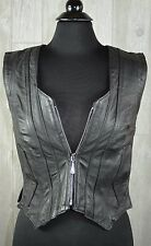 Harley Davidson Leather Vest Women's S Zip Front Black USA