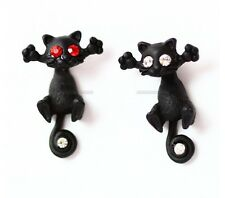 CUTE BLACK CAT KITTY KITTEN CZ EYES RED STEAM PUNK ALCHEMY GOTH ROCK EARRING