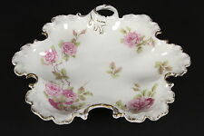 R C Monbijou Bavaria Rosenthal China Ruffled Edge Dish Pink Roses Crossed Swords