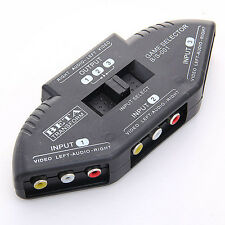 New 3-Port 3Port A/V RCA VIDEO GAME SELECTOR SWITCH for PS2 xBox cable 9750