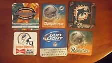 Miami Dolphins 6 coasters lot set budweiser bud light man 2012 NFL draft rare