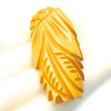 1930's Deeply Carved Bakelite Scarf Clip Pin Art Deco Mustard Yellow Jewelry