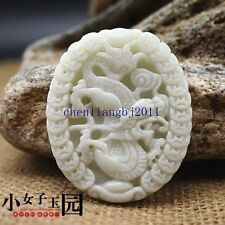 100%  Crafted carved beautiful Money Dragon Lantian white jade pendants