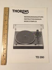"Thorens TD280 Turntable ""Original"" Vintage Owners Manual 16 Pages"