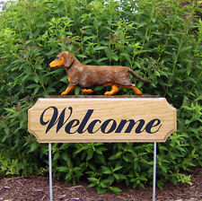 Dachshund Smooth Dog Breed Oak Wood Welcome Outdoor Yard Sign Red Dapple