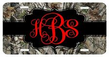 Personalized Monogrammed License Plate Auto Car Tag Camo Red