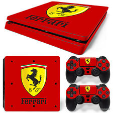 PS4 Slim Playstation 4 Console Skin Decal Sticker Ferrari + 2 Controller Skins