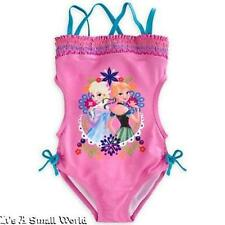 Disney Store Frozen Anna and Elsa Pink Trikini Swimsuit for Girls Size 9 10 NWT