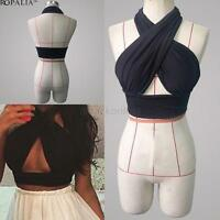 Sexy Women Cross Over Cropped Top Nightclub Bralet V Neck Cut Out Vest Clubwear