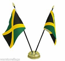 JAMAICA X2 Friendship TABLE FLAGS with GOLDEN BASE CARIBBEAN flag JAMAICAN