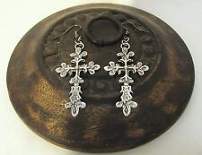 Goth handmade silver coloured large ornate cross dangle drop earrings FREE P&P