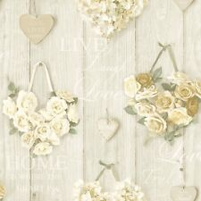 Vintage Shabby Chic Heart Floral Wallpaper Cream Free Delivery