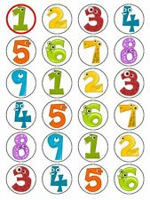 """x24 1.5"""" Childrens Number Animals Education Cupcake Topper On Edible Rice Paper"""