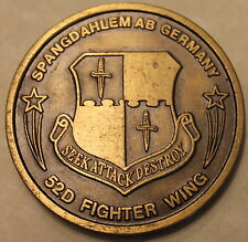 52nd Fighter Wing Spangdahlem Air Base Germany Air Force Challenge Coin /  F-15