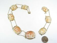 ANTIQUE GEORGIAN 15K GOLD FINELY CARVED SHELL CAMEO NECKLACE PROJECT c1820