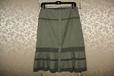 Free People Olive Green Lace Tiered Snap Button Down Knee Length Wool Skirt 4