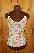 PER UNA ivory pink green yellow floral stretch chiffon camisole vest top 14 42