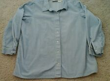 Blair Women Solid Blue Long Sleeve 100% Cotton Corduroy Jacket    Plus Size 2X