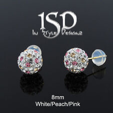 14k Gold 8mm Swarovski Elements White Peach Pink Crystal Ball Studs Earrings