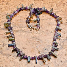 "NATURAL AMETHYST & KYANITE NECKLACE, 18""-19"" ADJUSTABLE, LOBSTER CLAW CLASP, WOW"