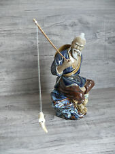Vintage Asian Statue Man Fishing with Fish on Line Purchased in Hong Kong 1980's