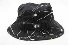 New NEFF Mens Far Out Boonie Bucket Bush Hat OSFM Black White Polyester BW1