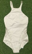 New Seafolly Mesh About High Neck DD Cup Maillot In White - Size AU10 / US6
