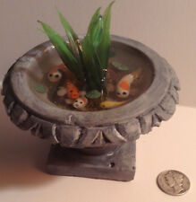 Miniature Koi Fish Pond Fountain Handcrafted 1:12 Dollhouse Fairy Garden OOAK