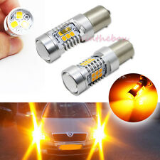 2PCS Error Free Amber 7507 LED Bulbs Fit 2004 Skoda Octavia 3 Turn Signal Lights