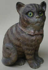 ANTIQUE FIGURAL TOBACCO JAR CAT TERRACOTTA POTTERY BERNHARD BLOCH CA 1890 TABBY