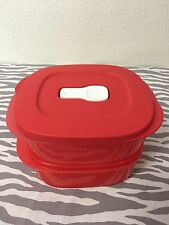 Tupperware Crystalwave Rectangle Duo Dish Clip On 2 Cups Red New