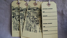 Vintage Luggage Tags Mid Century Paper Ephemera 8 pcs Travel in Style