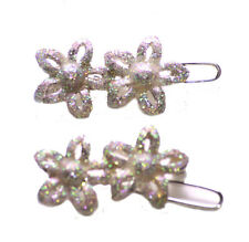 Pair of Glitter Flower Embellished Easy Lock Hair Clips (Zx234)