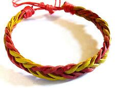 Bracelet Brésilien en Cuir Amitié Friendship Porte Bonheur Leather rouge jaune