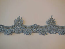 Blue decorative floral lace trim/ Clothing Sewing Dress trim. Sold by per yard.