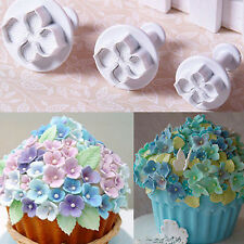 3pcs Flower Plunger Cutter Mold For Cake Hydrangea Fondant SugarCraft Decorating