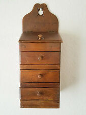 Vintage Wood Wall Spice Rack Drawer Cabinet Box Apothecary
