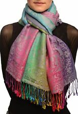 Large Ombre Paisley On Grey Pashmina With Tassels (SF002574)