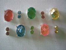 2 Hole Slider Beads Cabachon Ovals & Crystals Light Mix #10