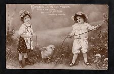 Posted 1911 Easter Greeting Card - Two children & a chick