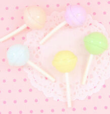 5 x Large Realistic LOLLIPOP Pastel 3D Kawaii Cabochon Embellishments Craft