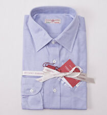 NWT $395 LUCIANO BARBERA Slim-Fit Sky Blue Woven Cotton Dress Shirt 16.5 x 36