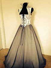 Gray and Cream Renaissance Bodice Dress Gown Costume many Sizes Available!!